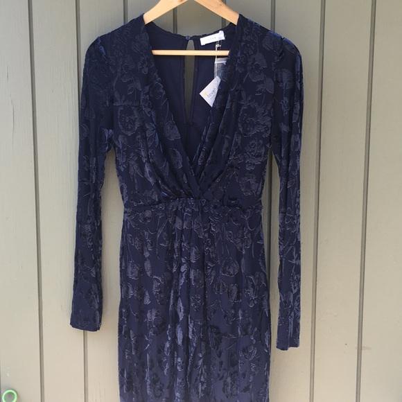 Lush Dresses & Skirts - NWT/Size M/floral velvet indigo blue tulip dress